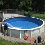 landscaping above ground pool