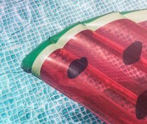 watermelon float in pool