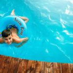 Boy Swim Safely in Pool