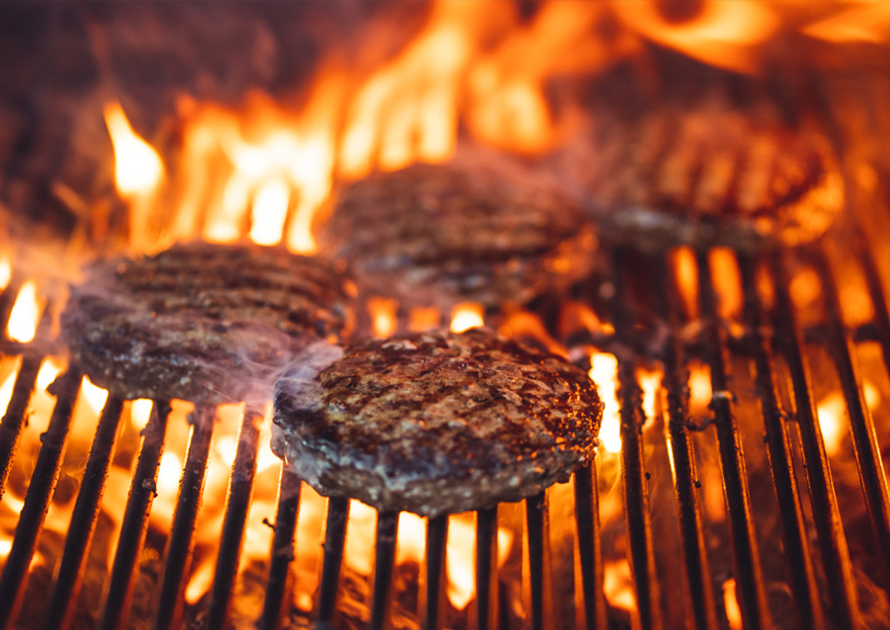 Burgers on a Grill Summer Barbecue